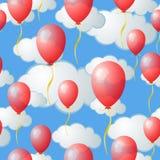 Seamless Cloud and Balloon Pattern Stock Photos