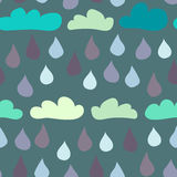 Seamless Clouds and Raindrops Background Stock Images
