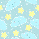 Seamless clouds and stars pattern vector illustration Stock Photo