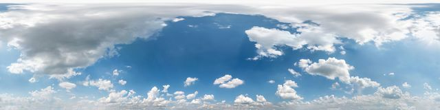 Free Seamless Cloudy Blue Sky Hdri Panorama 360 Degrees Angle View With Beautiful Clouds  With Zenith For Use In 3d Graphics As Sky Stock Images - 161568504