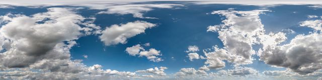 Free Seamless Cloudy Blue Sky Hdri Panorama 360 Degrees Angle View With Zenith And Beautiful Clouds For Use In 3d Graphics As Sky Dome Royalty Free Stock Images - 160889919
