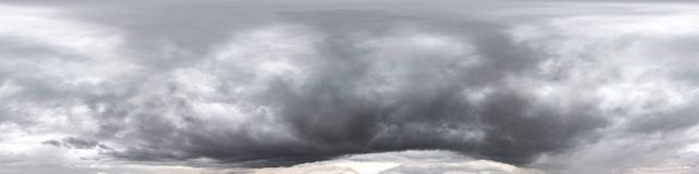 Free Seamless Cloudy Dark Sky Before Storm Hdri Panorama 360 Degrees Angle View With Beautiful Clouds  With Zenith For Use In 3d Stock Photography - 161568492