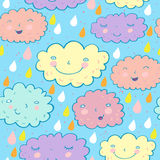 Seamless cloudy pattern. Seamless cloudy cartoon pattern in vector Stock Photos