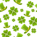 Seamless clover and hat background. Seamless background for St.Patricks Day Stock Image