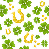 Seamless clover and horseshoe background Royalty Free Stock Image