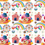 Seamless clown and circus rides Stock Images