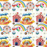 Seamless clowns and circus Royalty Free Stock Photo