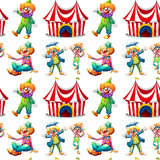 Seamless clowns and circus tent Stock Images