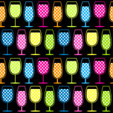 Seamless Cocktail Glasses Pattern. Seamless wine or cocktail glasses Royalty Free Stock Image