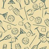 Seamless cocktail pattern Stock Photos