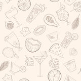 Seamless cocktail pattern Royalty Free Stock Image