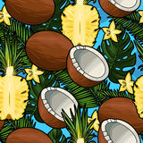 Seamless coconut and pineapple Royalty Free Stock Image