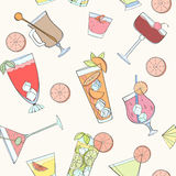 Seamless coctail pattern. Can be used for wallpaper, website background, wrapping paper. Summer coctail natural bright pattern. Summer design. Food concept vector illustration