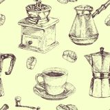 Seamless pattern. Coffee cup, coffee beans, coffee maker and coffee grinder. Hand drawn illustration in sketch style stock illustration