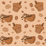 Seamless coffee and cupcakes Royalty Free Stock Photography