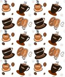Seamless coffee cups Stock Photography