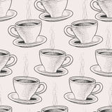 Seamless coffee cups. Seamless background with hand drawn coffee cups Royalty Free Stock Images