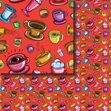 Seamless coffee cups pattern Stock Photos