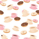 Seamless coffee and doughnut wallpaper. Royalty Free Stock Photo
