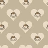 Seamless coffee in heart Stock Photos