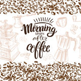 Seamless coffee. Seamless horizontal coffee background with hand drawn beans and dishes Stock Image
