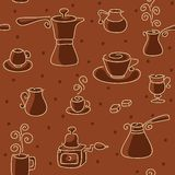 Seamless coffee pattern. Stock Photo