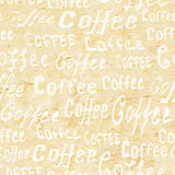 Seamless coffee pattern on beige old paper background Royalty Free Stock Photography