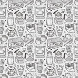 Seamless coffee pattern Stock Photos