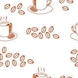 Seamless coffee pattern with coffee cup and coffee beans. Hand drawn illustration in sketch style on white background Stock Photo