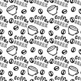 Seamless coffee pattern with coffee grains, cups and lettering - Coffee break. Pattern can be used for surface textures, wallpaper Stock Images