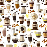 Seamless coffee pattern in flat style. Mug and breakfast, beverage and espresso,  hot and caffeine. Vector illustration Stock Image