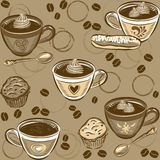 Seamless Coffee Pattern. Vector illustration. Royalty Free Stock Photo