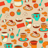 Seamless coffee and tea pattern with sweets Royalty Free Stock Photos