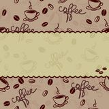 Seamless coffee wallpaper or background in vector. Seamless pattern with cup of coffee and coffee bean Royalty Free Stock Photos