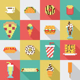 Seamless collection, pixel, vintage, diner food pattern in vector. And flat design style Stock Images
