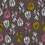 Seamless color autumn elements of nature, pine nuts, leaves. Vector drawing autumnal theme for fashion,fabric,and all prints stock illustration