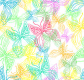 Seamless color background with cute butterfly Royalty Free Stock Images