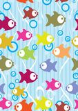 Seamless color background with cute cartoon fish. Illustration Royalty Free Stock Images