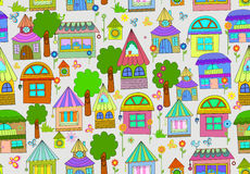 Seamless color background with cute houses. And flowers Royalty Free Stock Image