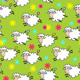 Seamless color background with cute sheep Stock Photography