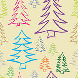 Seamless color contours of fir-trees Royalty Free Stock Images