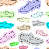 Seamless color contours of male shoe Royalty Free Stock Photography