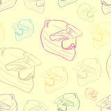 Seamless color contours of moto-helmets Royalty Free Stock Photo