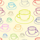 Seamless color contours of mugs Royalty Free Stock Image