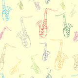 Seamless color contours of saxophones Royalty Free Stock Photography