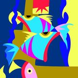 Seamless color fish swimming in the water vector illustration