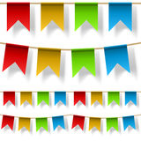 Seamless color flag strings  on white Stock Photography
