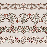 Seamless color floral border template. Seamless color floral border vector template. Ornament repeating divider Stock Photo