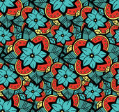 Seamless Color Flower Pattern. Abstract Seamless Colorful Flower Pattern. Vector Hand Drawn Color Background Stock Images