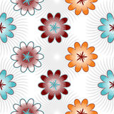 Seamless color flowers isolated on white background Royalty Free Stock Photos